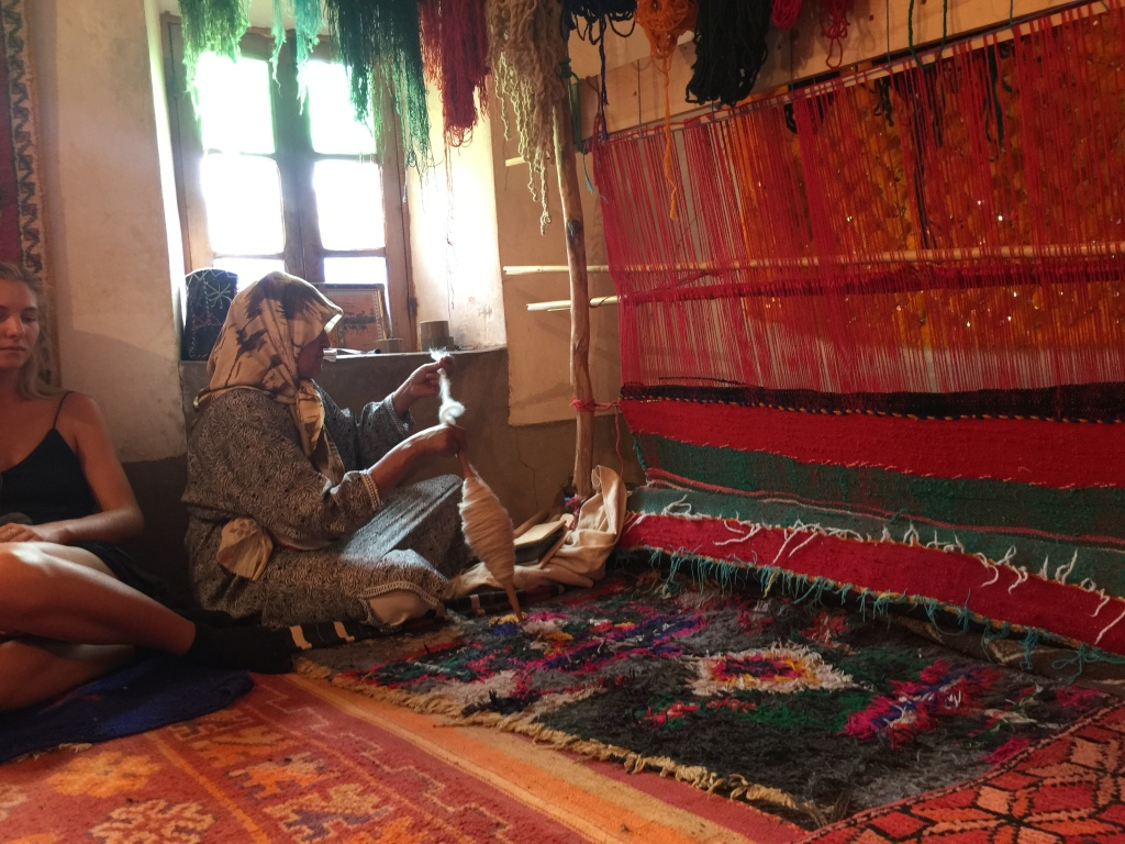She showed us how to make the carpets. They use living wool which is apparently better than the alternative. Always a learning experience...